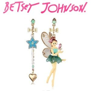 "Betsey Johnson ""Fairyland"" Mismatch Drop Earrings"
